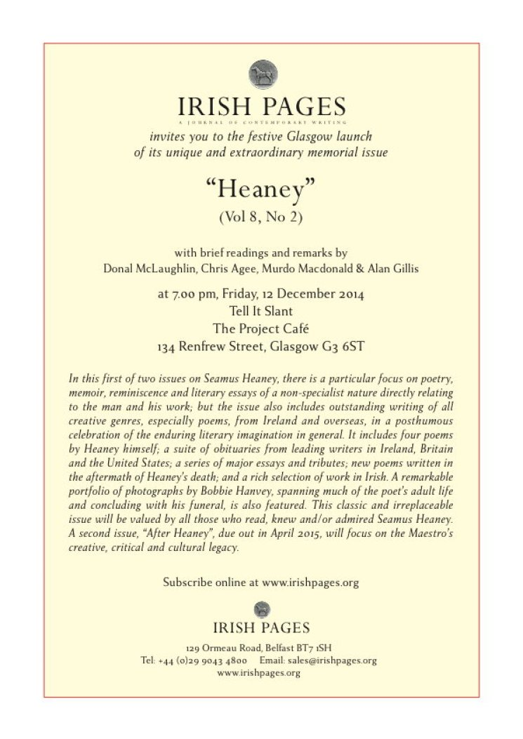 Glasgow Launch for Heaney Issue