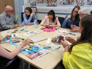 Embroidery class with children at Glasgow Caledonian University with the Embroiderers' Guild, Young Embroiderers