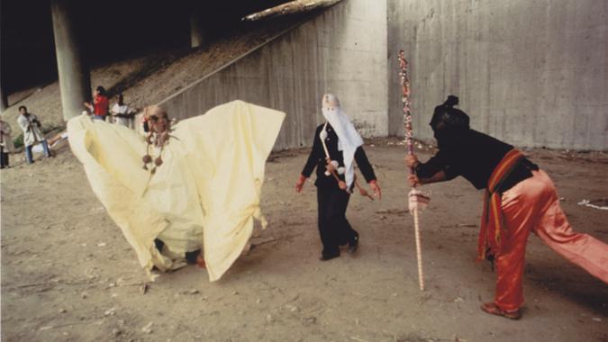"photo credit""Roderick Kwaku Young. Pictured Hassinger (left) Senga Nengudi (centre), David Hammons"