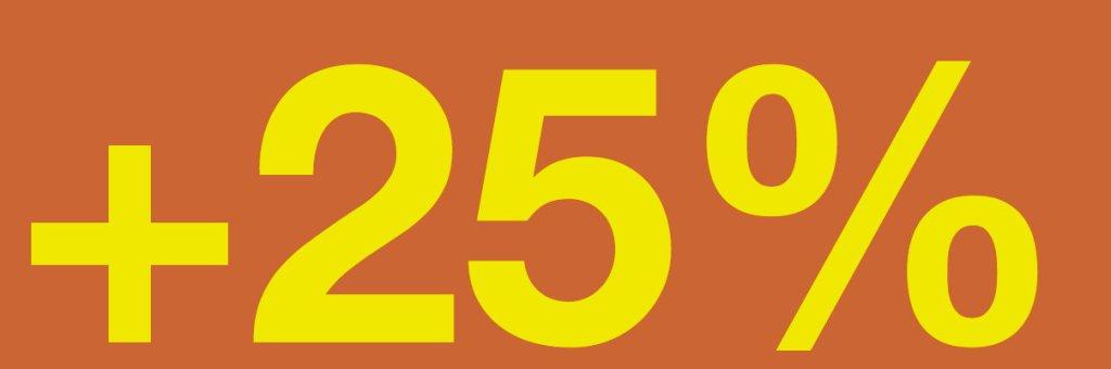 plus 25%