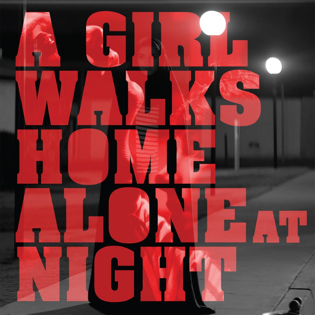 a girl walks home along at night