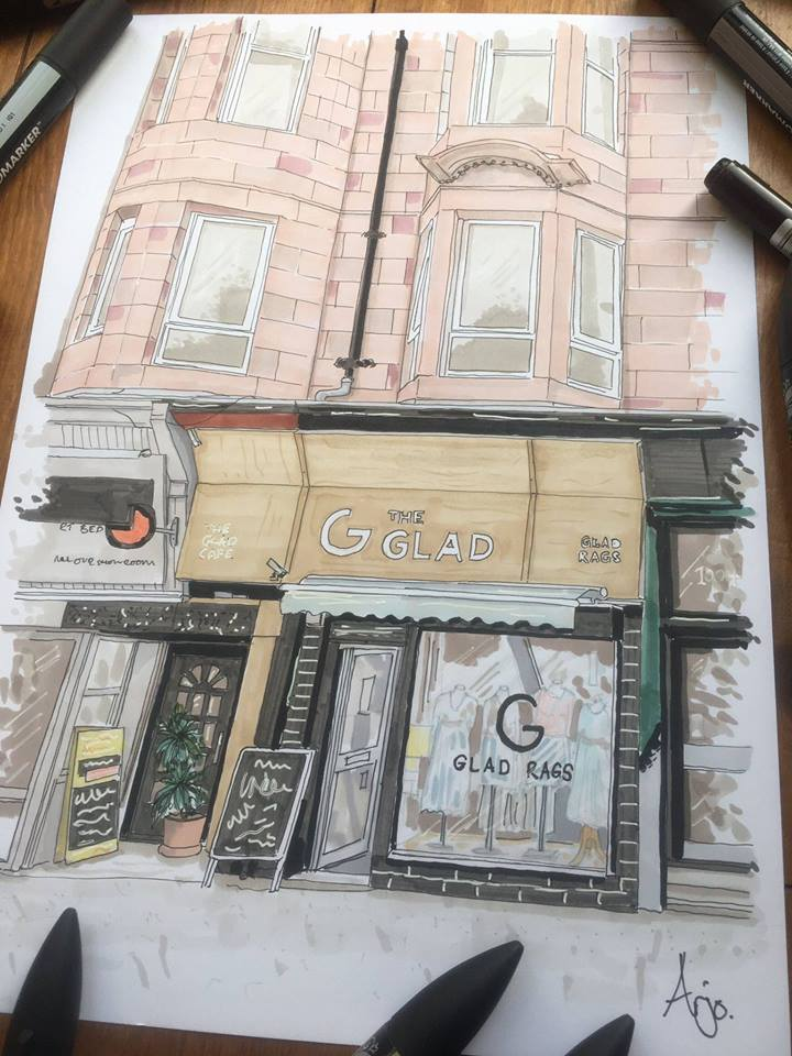 glad cafe drawing
