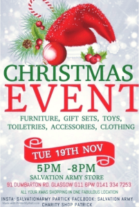 christmas event charity shop salvation ary