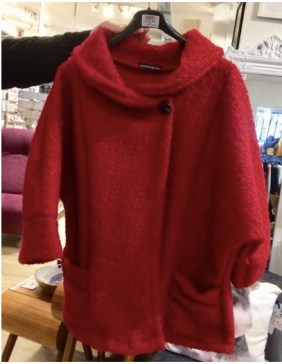 red boucle poncho coat