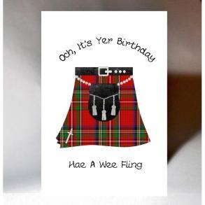 och its your birthday hae a wee fling card ns