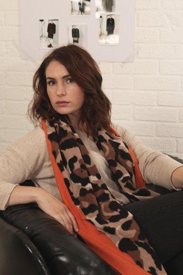orange animal print scarf ns