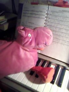 The Pink Hippo plays a standard or two