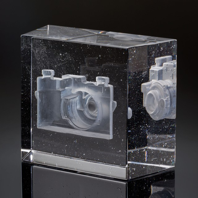 """TITLE: Forgetting In The Process Of Remembering I DATE: 2019 SIZE: 7""""L x 5W x 6.75""""H METHOD: Negative core casting, Polished MATERIALS: Glass PHOTO: Keay Edwards"""