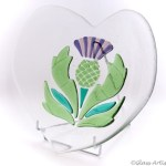 Wedding plate for Scottish couple; with thistle design, engraved names and wedding date.