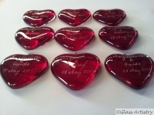 Wedding bomboniere hearts, kiln formed and hand engraved.