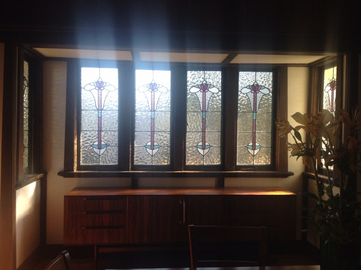 The restored leadlight windows installed in the Yeronga house.