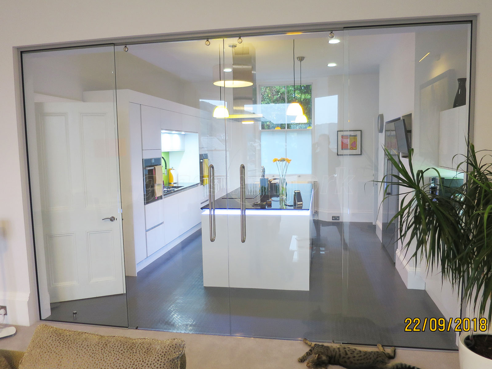 non fire rated double glass sliding doors at a domestic seaside property in dartmouth devon