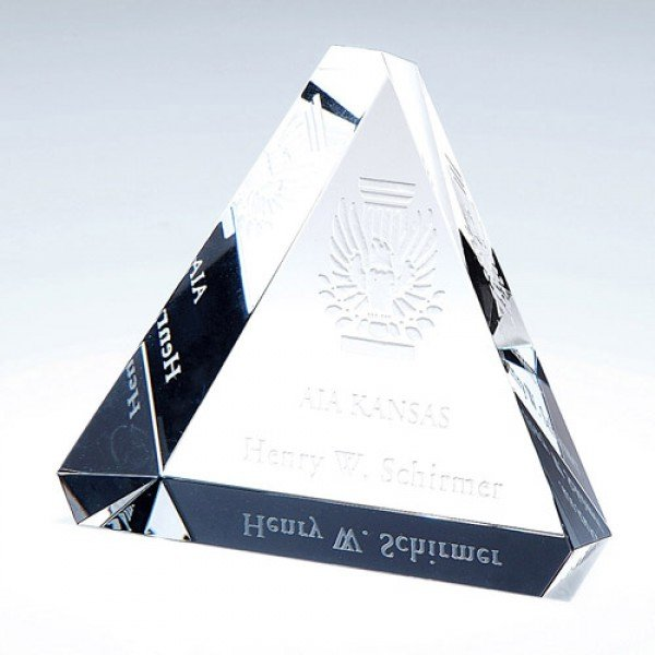 Bevelled Triangle Paperweight