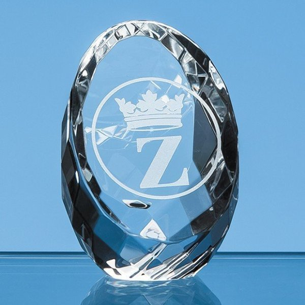 6cm Optical Crystal Facet Sliced Oval Paperweight