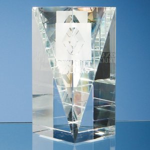 15.5cm Optical Crystal Facet Rectangle Award