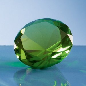 6cm Optical Crystal Green Diamond Paperweight