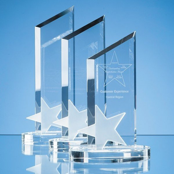 22cm Optical Crystal Peak with Frosted Star Award