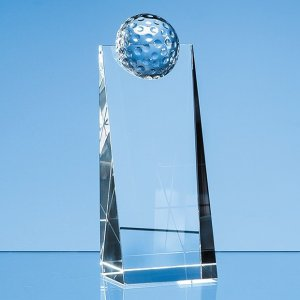 18cm Optical Crystal Golf Ball Rectangle Award