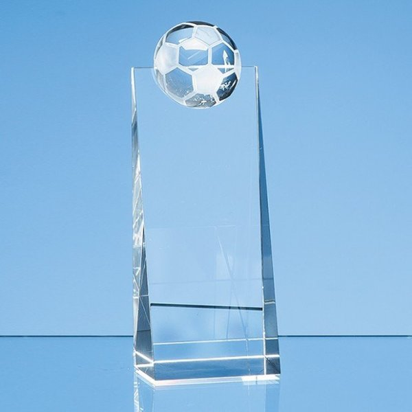 18cm Optical Crystal Football Rectangle Award
