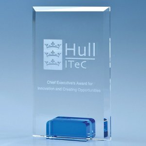 14.5cm Optical Crystal Rectangle with a Cobalt Blue Base