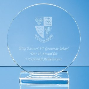 10cm x 12mm Clear Glass Circle Award