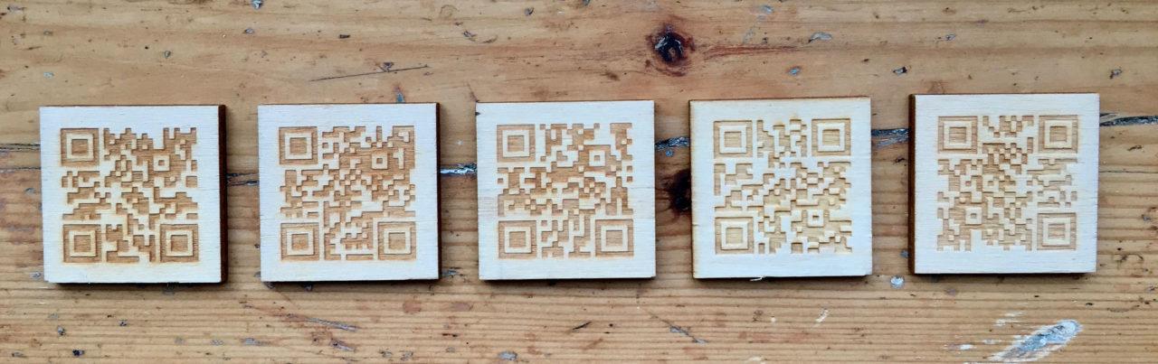 QR codes: laser etched wooden QR codes