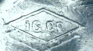 I.G.CO. within diamond ~ on base of light aqua square pickle bottle.