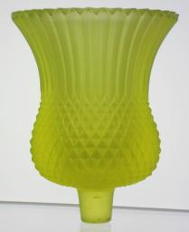"Frosted yellow vaseline glass candle holder marked faintly ""FAROY U.S.A. / PAT. PEND"" clockwise around stem."