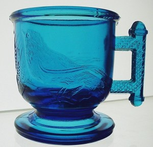 "Sapphire Blue ""Eastlake"" Children's Mug, made by Atterbury & Company of Pittsburgh in the 1880s"