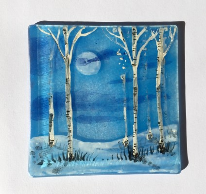 Blue fused glass coaster with hand painted silver birches
