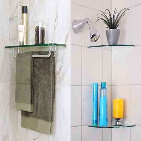 glass bathroom shelves | floating shelves for bathroom corners