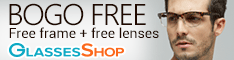 Buy one Get one FREE on today's HOTTEST styles of Lenses and Frames!  Use Code GSBOGO  Details At GlassesShop.com