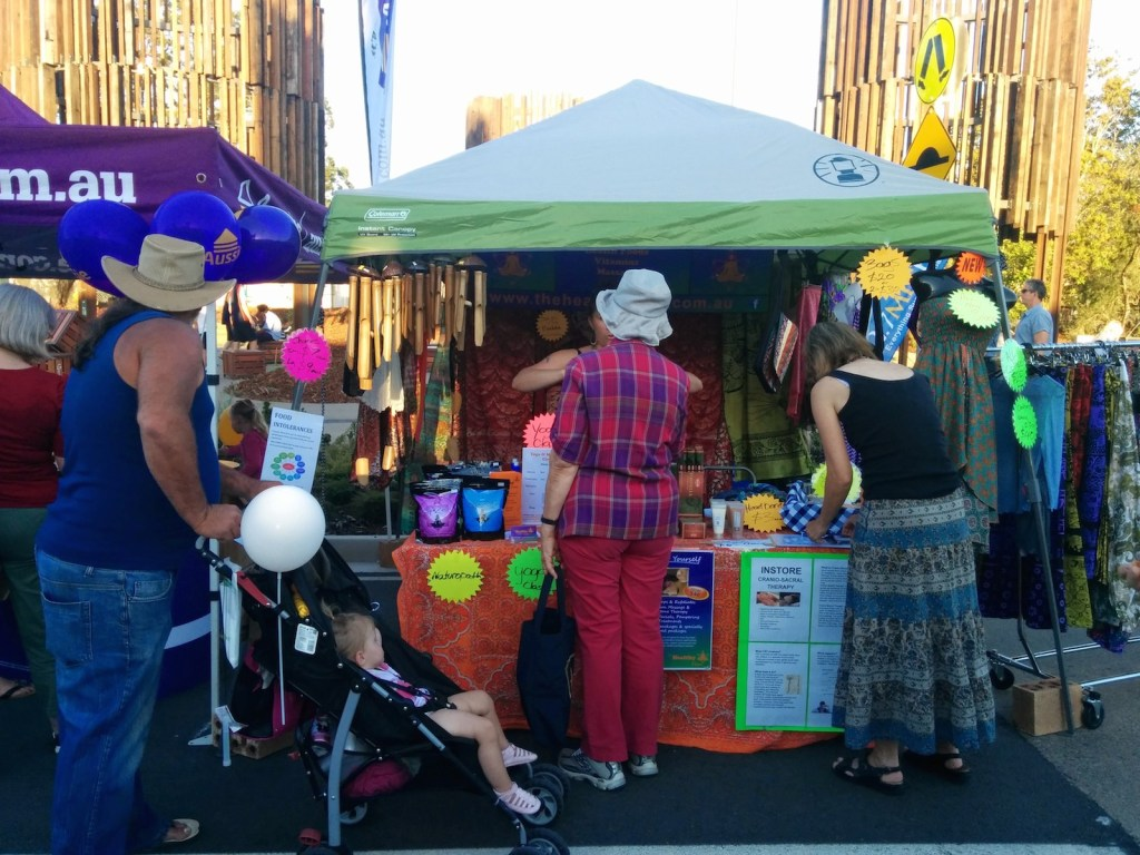 Stalls with Water Towers in the Background Beerwah Street Party 2014