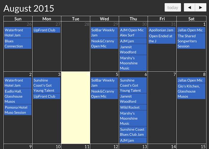 JamNet Sunshine Coast Calendar