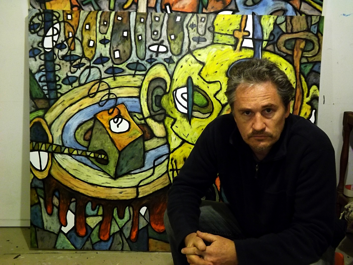Artist David Howard with his Art series Apostasy 2015