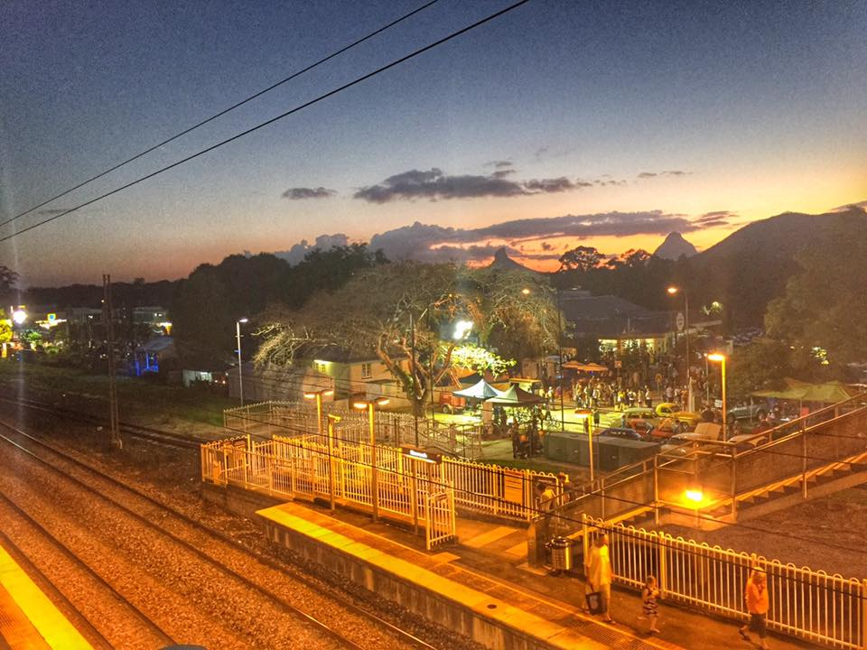Beerwah Town and Mountains from The Railway Bridge