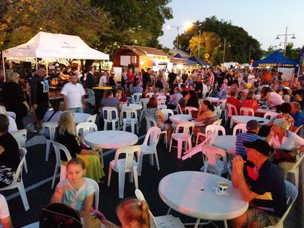 The crows ouside Past Dvine enjoying the music Beerwah Street Party 2015