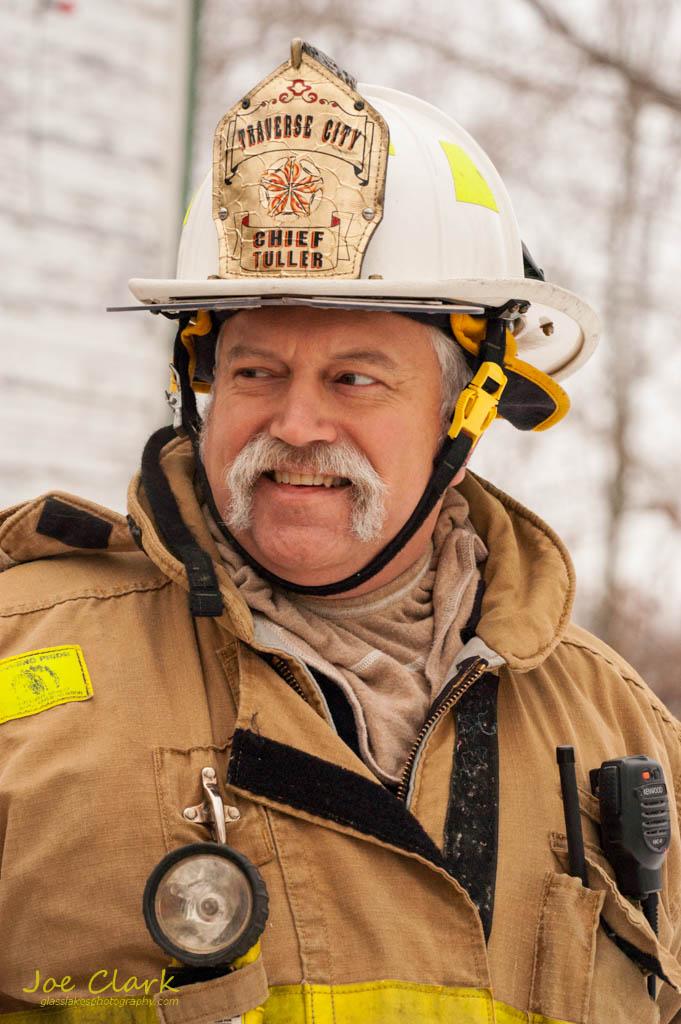Travers City Fire Cheif commercial portrait. By Joe Clark.