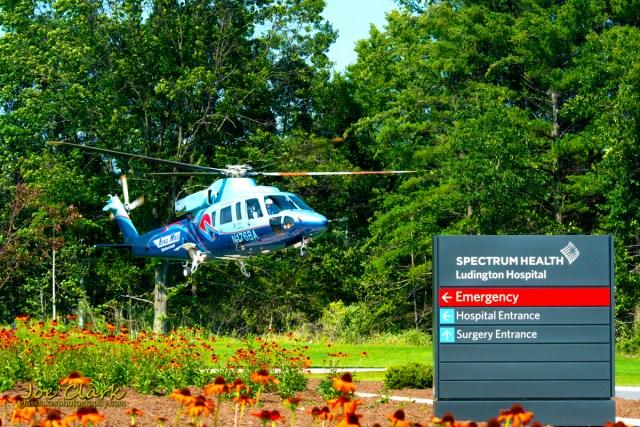 Aero Med lands at Spectrum of Ludington by Joe Clark www.glasslakesphotography.com