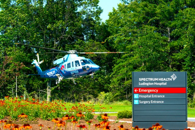 Aero Med lands at Spectrum of Ludington by Joe Clark www.glasslakesphotography.com