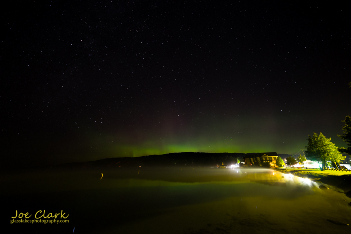 Northern lights over Walloon Lake michigan Petoskey photographer Joe Clark