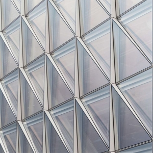 Triangle Shape Glass Facade Triangle Glass Cladding Insulated Glass Curtain Wall Clear Float