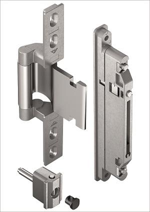 """Elegant aluminium main doors with the concealed Roto """"Solid C 7.140"""" door hinge"""