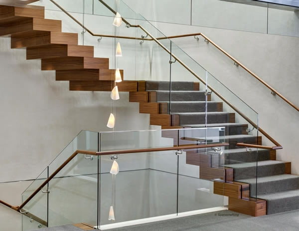 Floating Spiral Staircase With Glass Railing Increases Natural   Glass Balustrade Stairs Near Me   Railing Systems   Frameless Glass   Deck Railing   Handrails   Metal