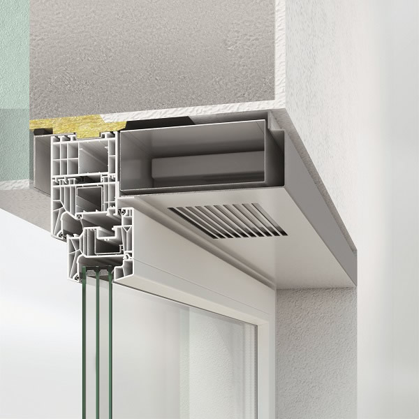 Schüco VentoTherm is a ventilation and extraction system integrated in the window, with heat recovery.