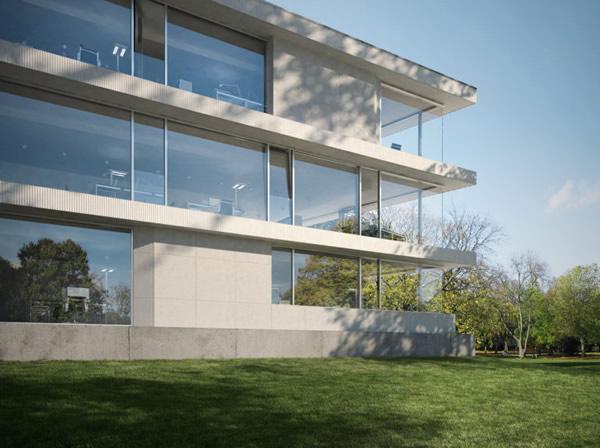 Slim framed aluminium facade
