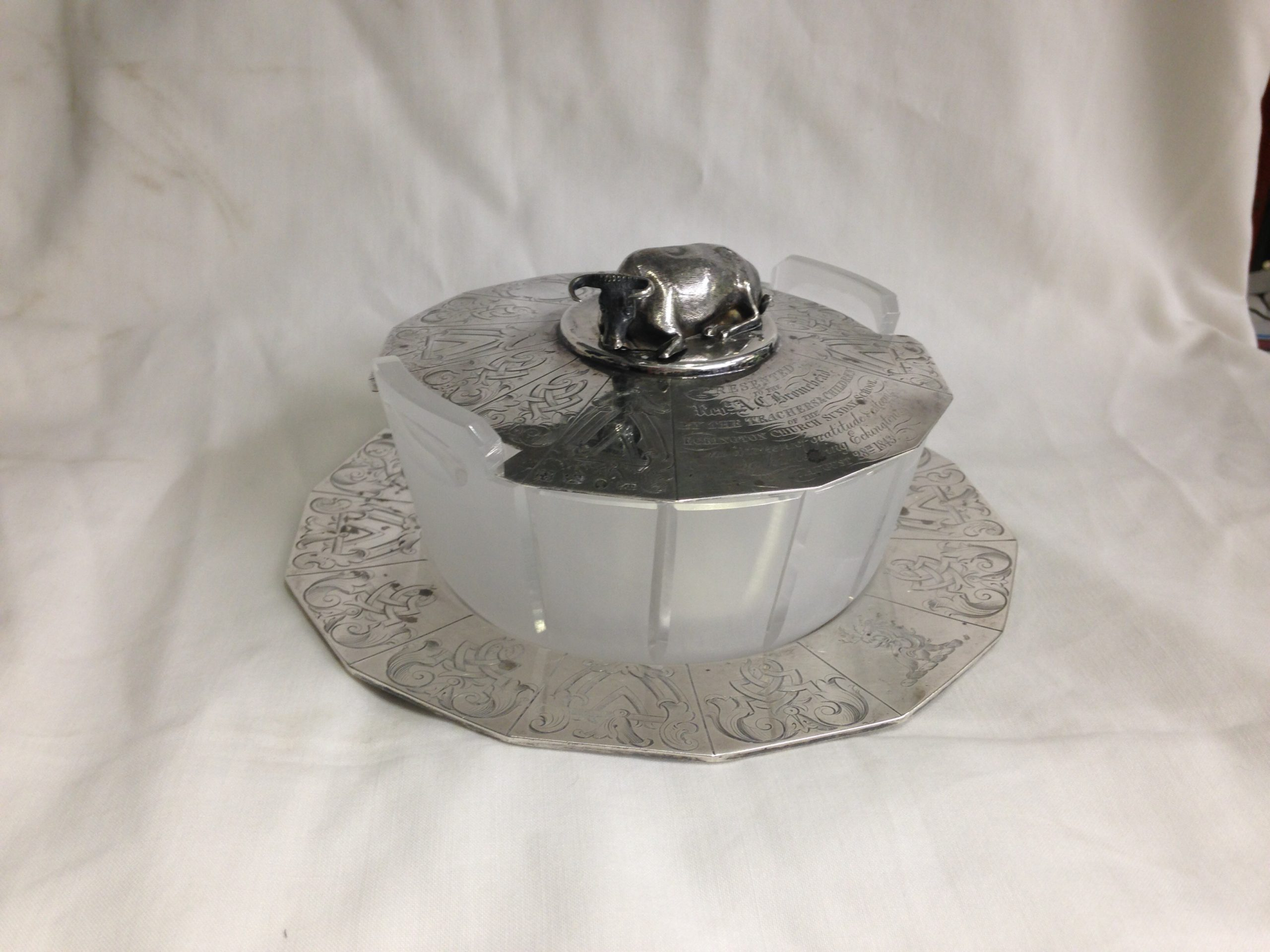 glass dish replaced and cut to size and pattern with silver lid