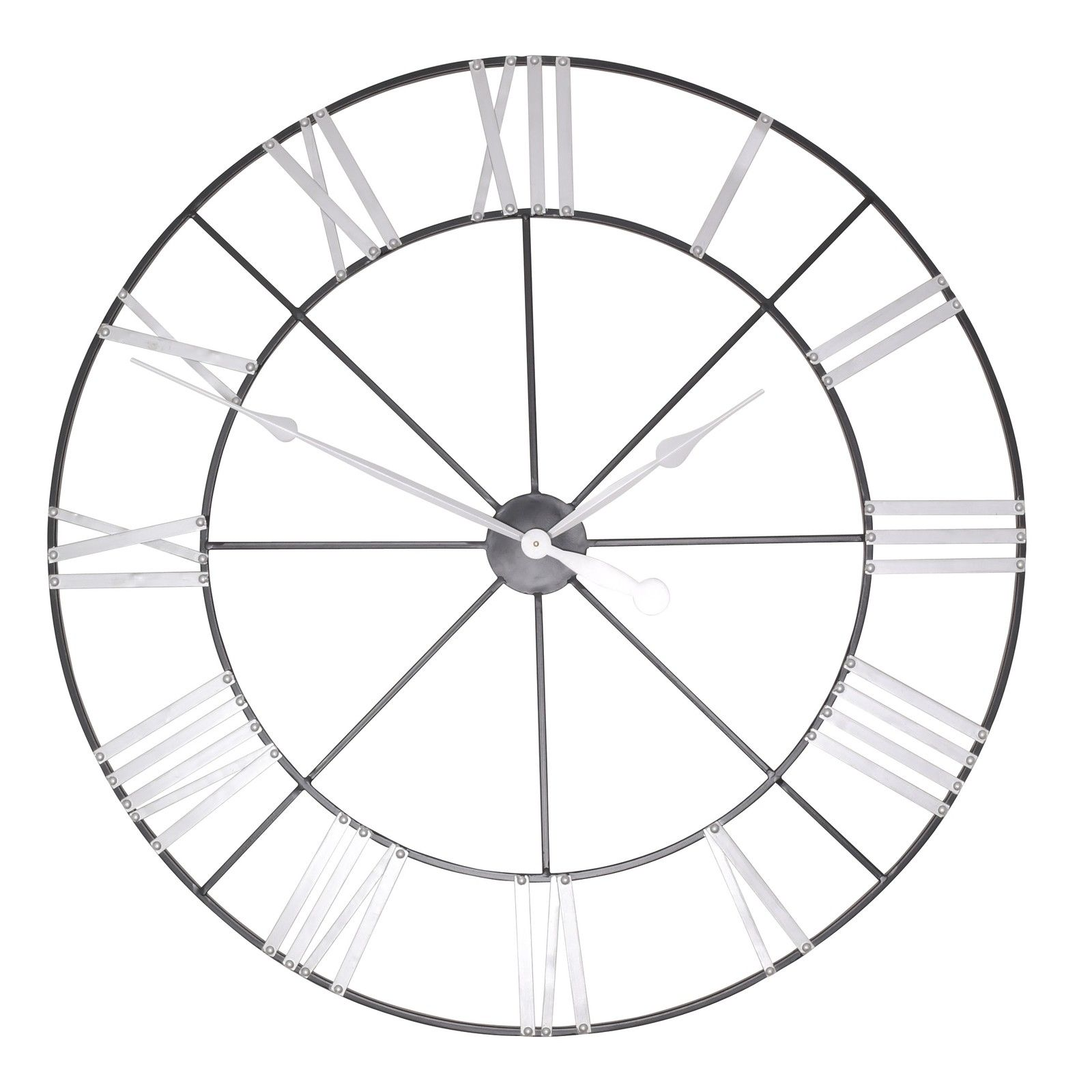 Large 102cm Metal Wall Clock with Silver Numerals