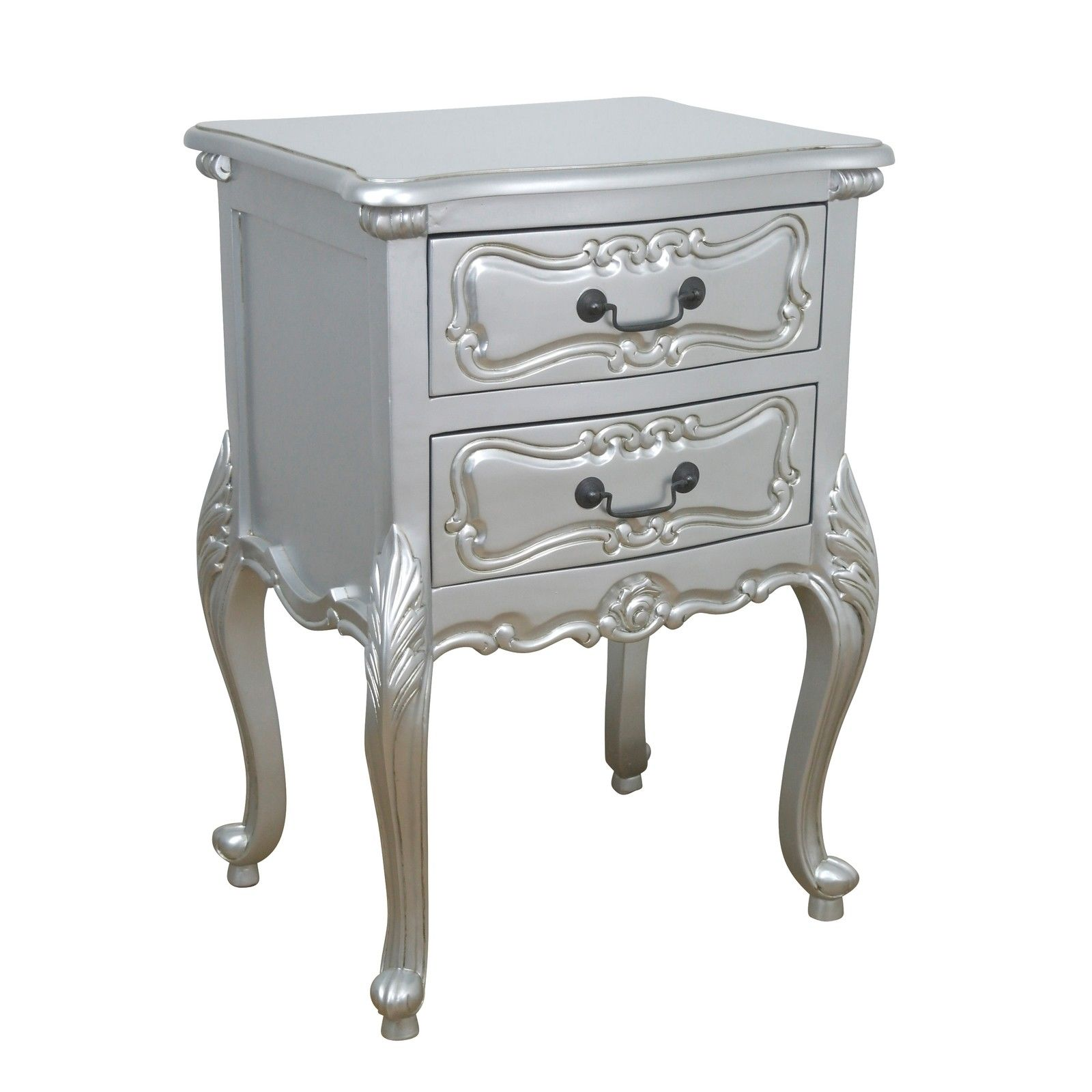 Rococo Silver Carved Bedside