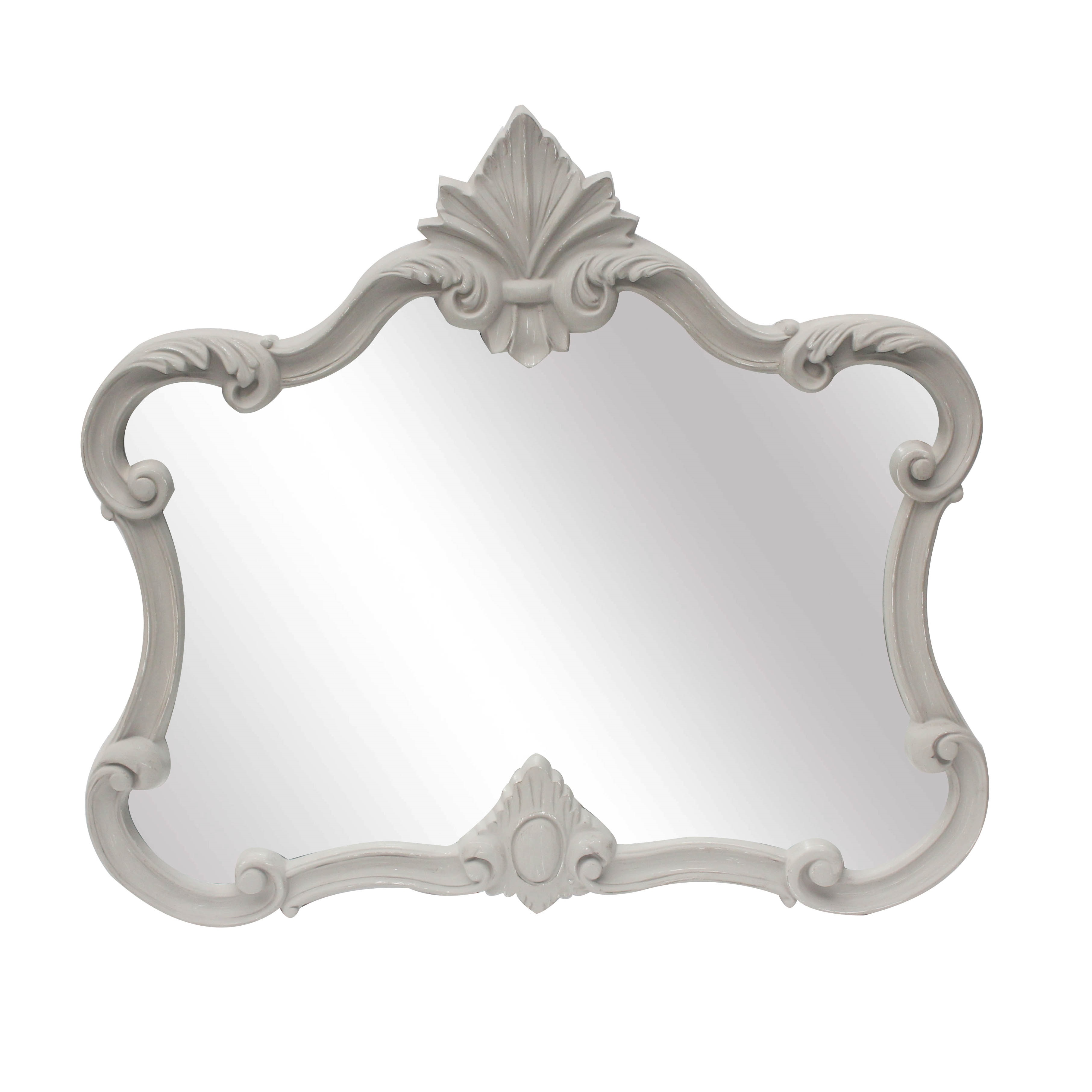 Stone Grey Framed Overmantle Mirror